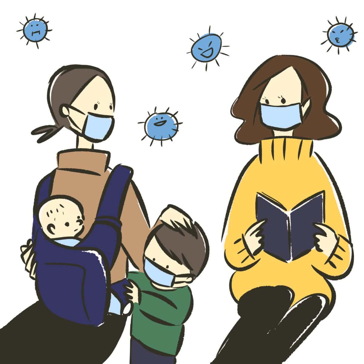 Mutter und Kind im Wartezimmer
